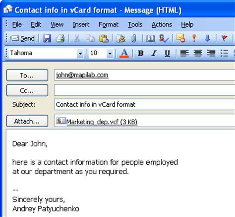 contact format converter vcard converter component
