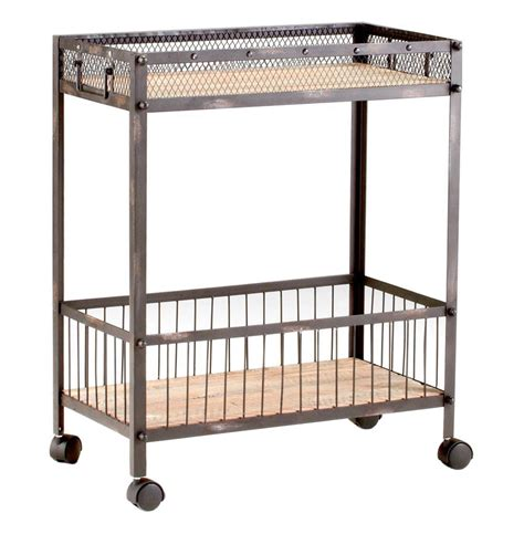 industrial bar cart industrial loft steel reclaimed wood iron serving bar cart
