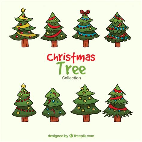 christmas tree sketches set vector free download