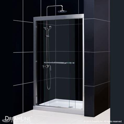 Dreamline Duet 44 To 48 Quot Frameless Bypass Sliding Shower Frameless Bypass Glass Shower Doors