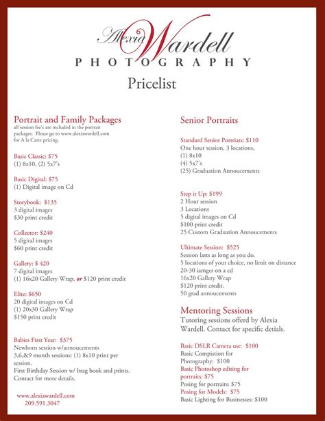 photography price list template alexia wardell photography alexia wardell pricelist