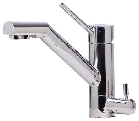solid polished stainless steel kitchen faucet with built