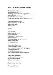 testo heal the world heal the world by michael jackson esl worksheet by mmelich2