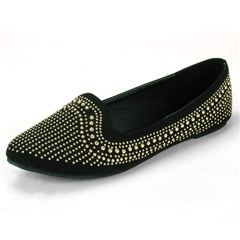womens velvet loafers gold metal studded accent ballet