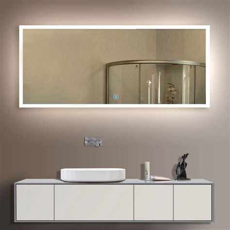 cheap illuminated bathroom mirrors 84 x 40 in horizontal led mirror with touch button dk od