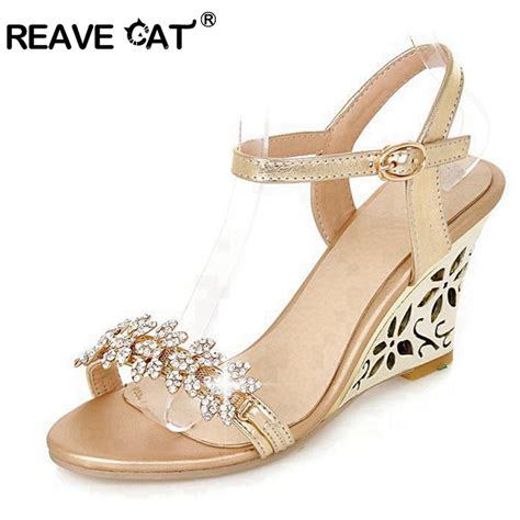 New Arrivals Cynthia Wedges reave cat new arrival glittering fashion fretwork heels wedges sandals rhinestone silver gold