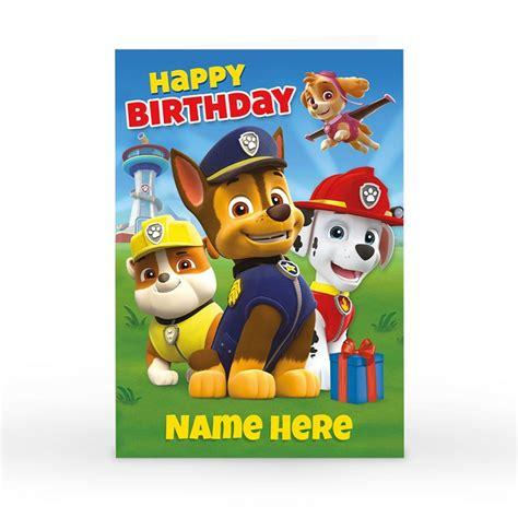 Free Paw Patrol Happy Birthday Card personalised paw patrol card happy birthday card factory