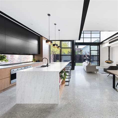 california home and design instagram grey polished concrete floor with black and white