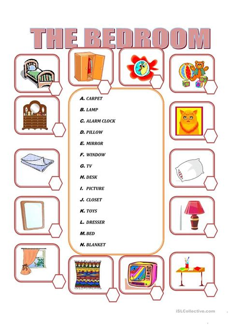 bedroom furniture vocabulary furniture in the bedroom worksheet free esl printable