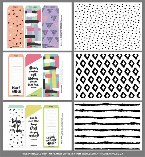 free printable planner tabs free printable top tab dividers for planners diaries and