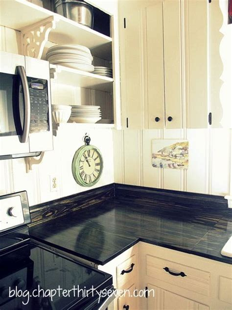 diy black wood countertops gorgeous diy countertops just plain pine boards 24