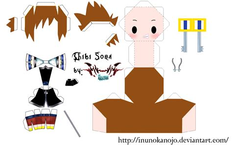 Kingdom Hearts Papercraft - chibi sora kingdom hearts free papercraft template