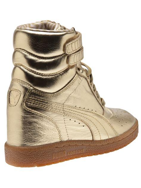 metallic sneaker wedges lyst sky wedge sneaker in metallic
