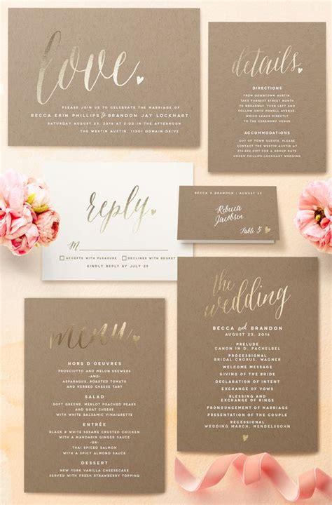 foil pressed wedding invites 21 gorgeous gold foil printed wedding invitations