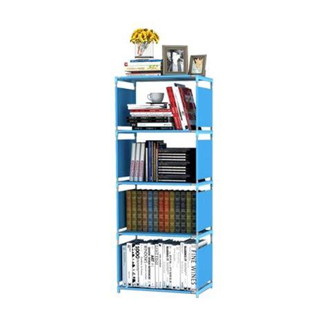 Rak Buku 4 Susun jual godric single rak buku portable 4 susun biru 50 5 x 30 5 x 144 cm harga