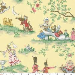 Dining Room Chair Cover Patterns by Yellow Nursery Rhyme Toile Fabric By The Yard Yellow