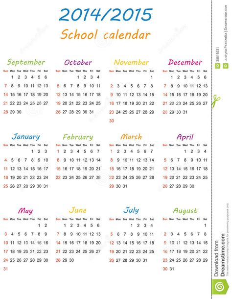 Calendario De La Escuela Calendario 2014 2015 De La Escuela Imagen De Archivo