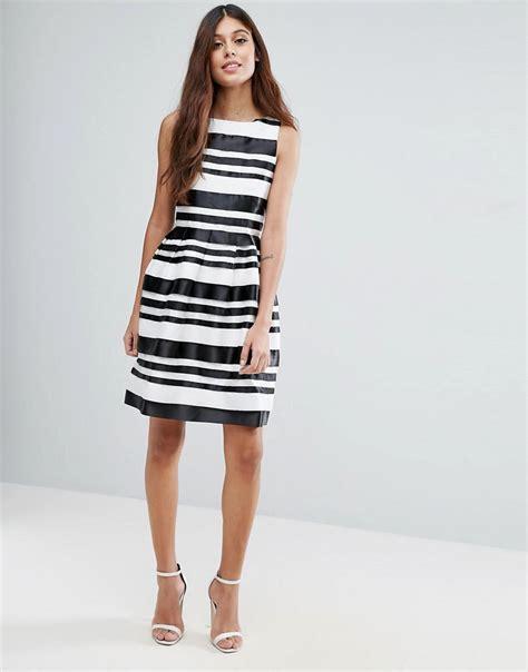 Id 289 Black White Stripe Dress lyst zibi striped black white ribbon dress in black