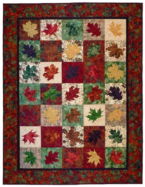 quilt pattern leaves falling leaves