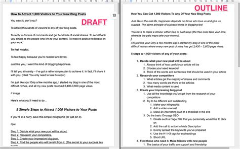 draft outline template how to write your post 57 best ideas and 65