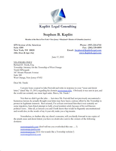 Response Letter To Attorney General Lawyer Brilliantly Bites Township Trying To Shut His Client S Site