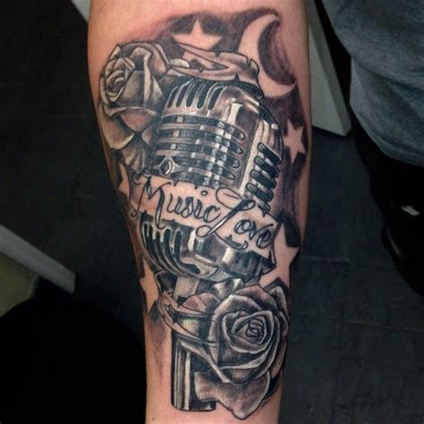 microphone and roses tattoo vintage box mic and roses wholeaddiction fishinktattoos