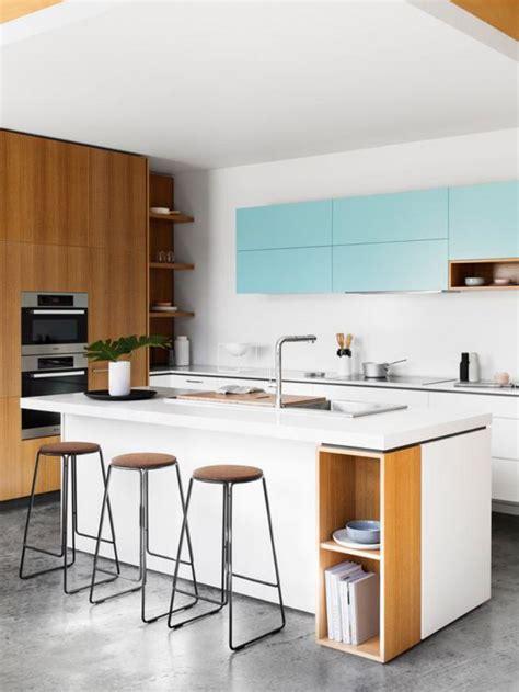 cuisine blanche avec ilot central la cuisine blanche et bois en 102 photos inspirantes