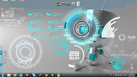 theme windows 7 electric supra robot rainmeter theme for windows7