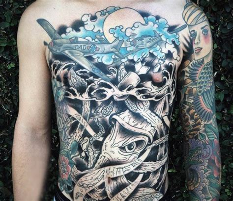 full stomach tattoos for men 100 squid designs for manly tentacled skin