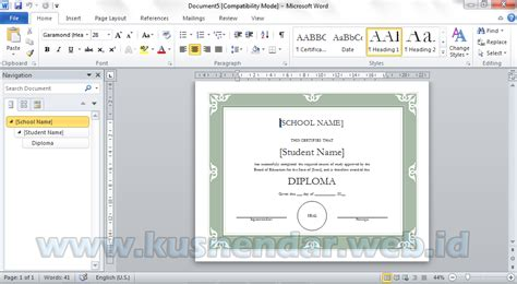 template sertifikat word membuat desain sertifikat sendiri di microsoft word 2010