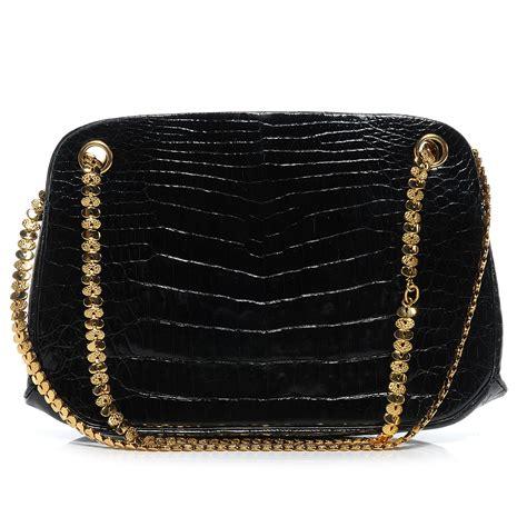 chanel vintage crocodile evening bag black 52665