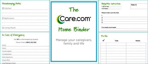 nanny to do list template the care home binder care