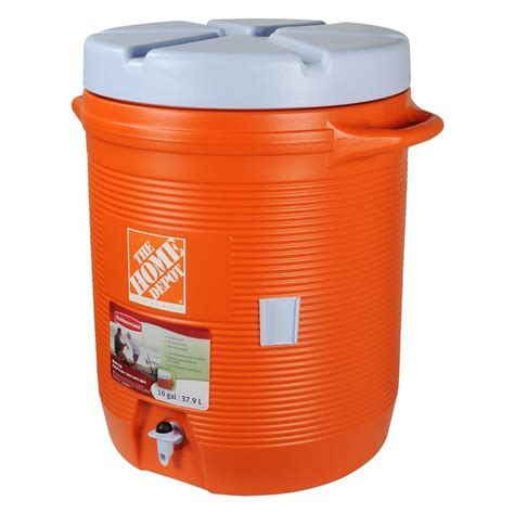 rubbermaid 10 gal orange water cooler fg1610hdoran the