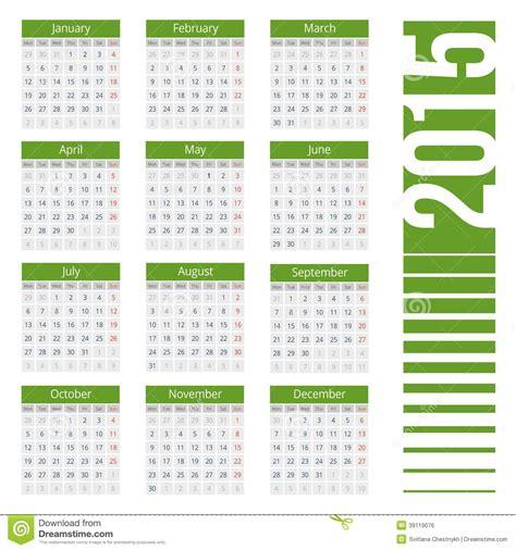 printable calendar 2015 europe european 2015 year vector calendar stock vector image