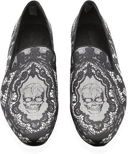 mens skull slippers mcqueen skull lace print slipper in gray for