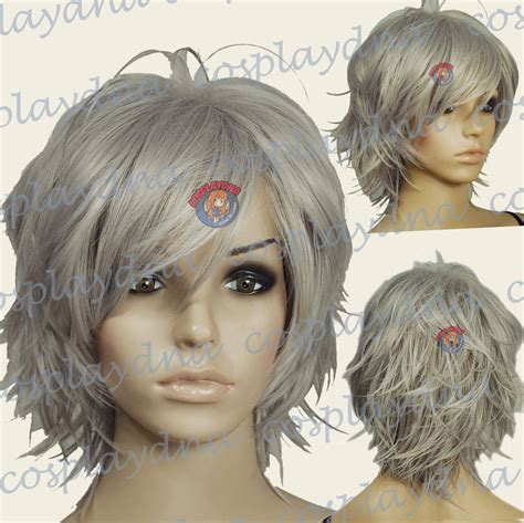 gray shag hairstyle 16 quot hi temp dark grey hand spikeable shaggy cut short