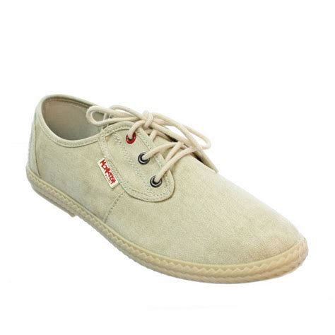 mens monkfish mist bark beige canvas casual lace up shoes