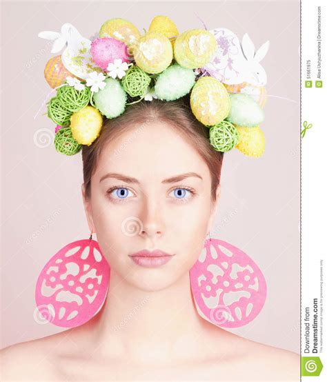 easter time avarde look hairstles beautiful easter woman hairstyle stock photo image