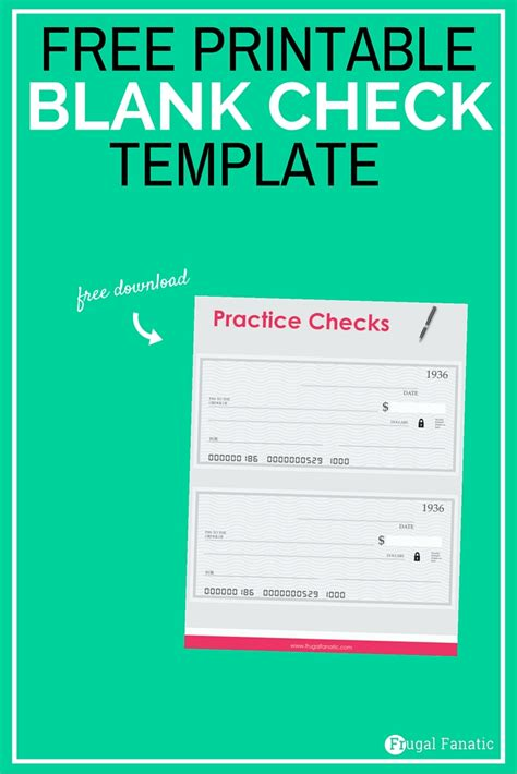 Blank Check Template Teaching Teens How To Manage Money Frugal Fanatic Print Your Own Checks Template