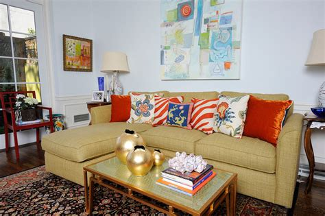 gold sofa living room society hill renovation eclectic living room