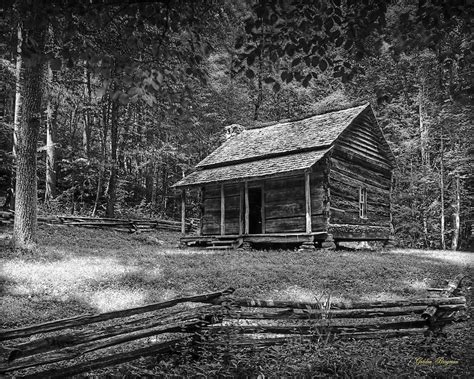 the cabin in the clearing b w smoky mountain