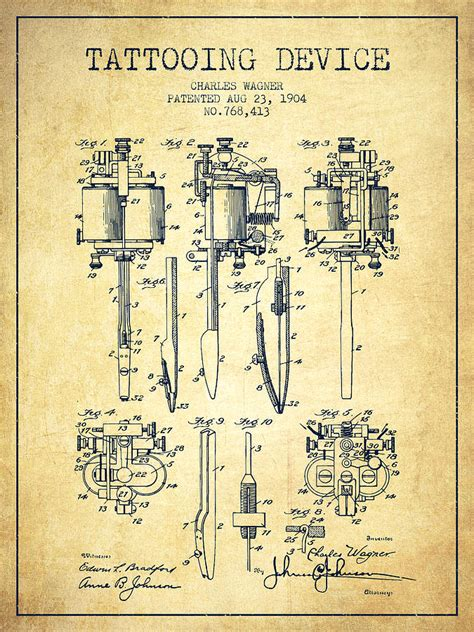 tattooing machine patent from 1904 vintage drawing by