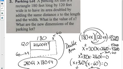 Quadratic Applications Worksheet
