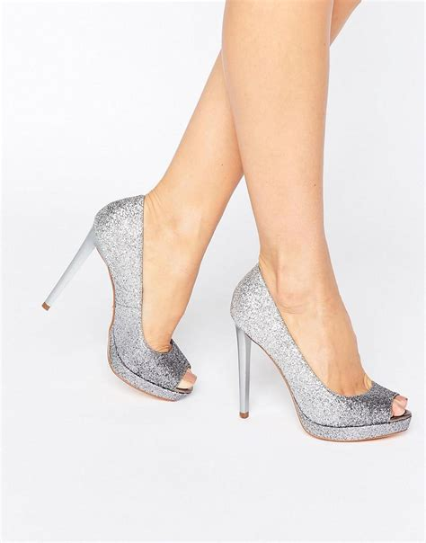 Faiths Heels by Faith Silver Glitter Heeled Shoes In Metallic Lyst