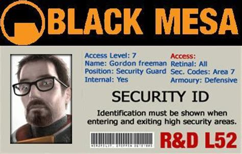 black mesa id card template black mesa id by red1bug on deviantart