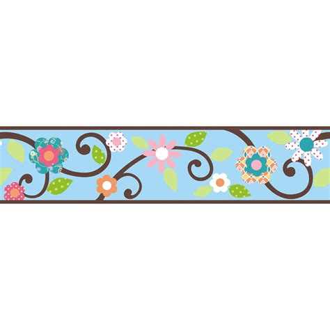 room mates studio designs scroll floral wall border in
