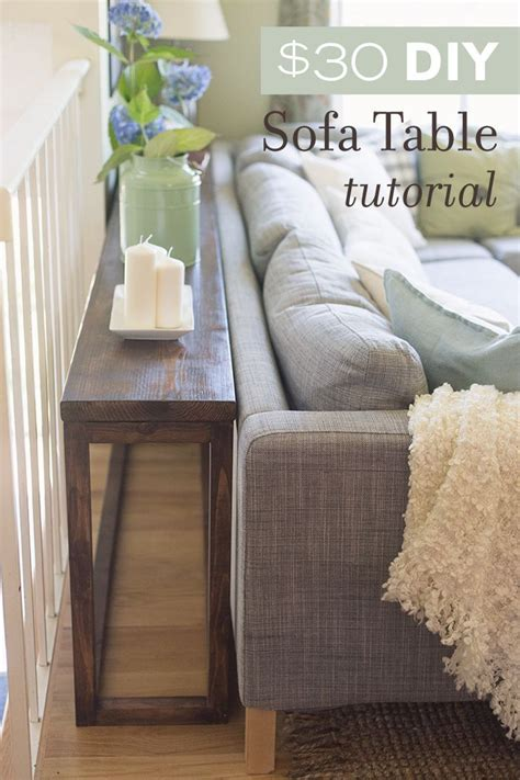 tall table behind couch 30 diy sofa console table tutorial diy sofa console