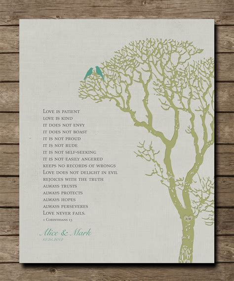 Wedding Bible Verses Is Patient by Wedding Tree 1st Anniversary Gift Wall Print 1