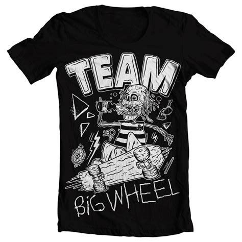design t shirt rollerblade big wheel records team big wheel skate t shirt black