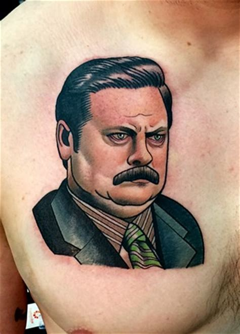 ron swanson tattoo stay humble company an upscale